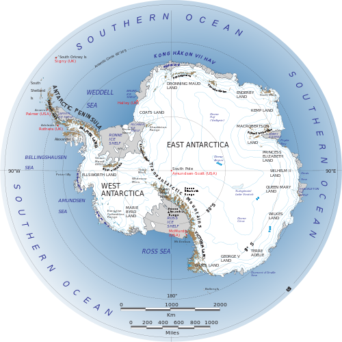 Antarctica Overview Map: source Wikimedia commons.