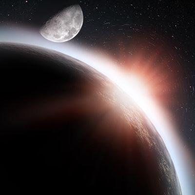 rising sun, earth, and moon wp